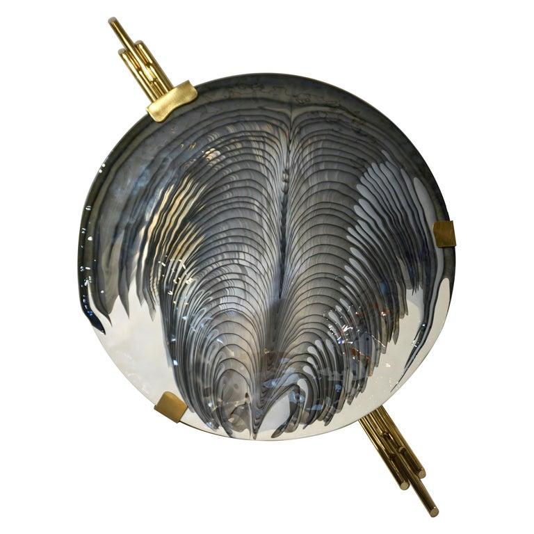 Art Deco Style Monumental Italian Black Gray White Murano Glass Flush/Wall Light For Sale