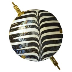 Art Deco Style Monumental Pair of Black & White Murano Glass Wall Art Lights