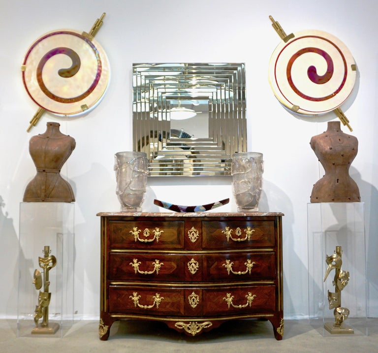 Art Deco Style Monumental Pair of Dark Red Ivory White Murano Glass Wall Lights For Sale 4
