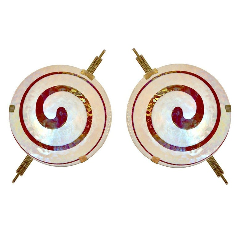 Art Deco Style Monumental Pair of Dark Red Ivory White Murano Glass Wall Lights For Sale 5