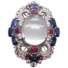 Art Deco Style Moonstone Blue Sapphires Rubies Diamonds White Gold Cocktail Ring