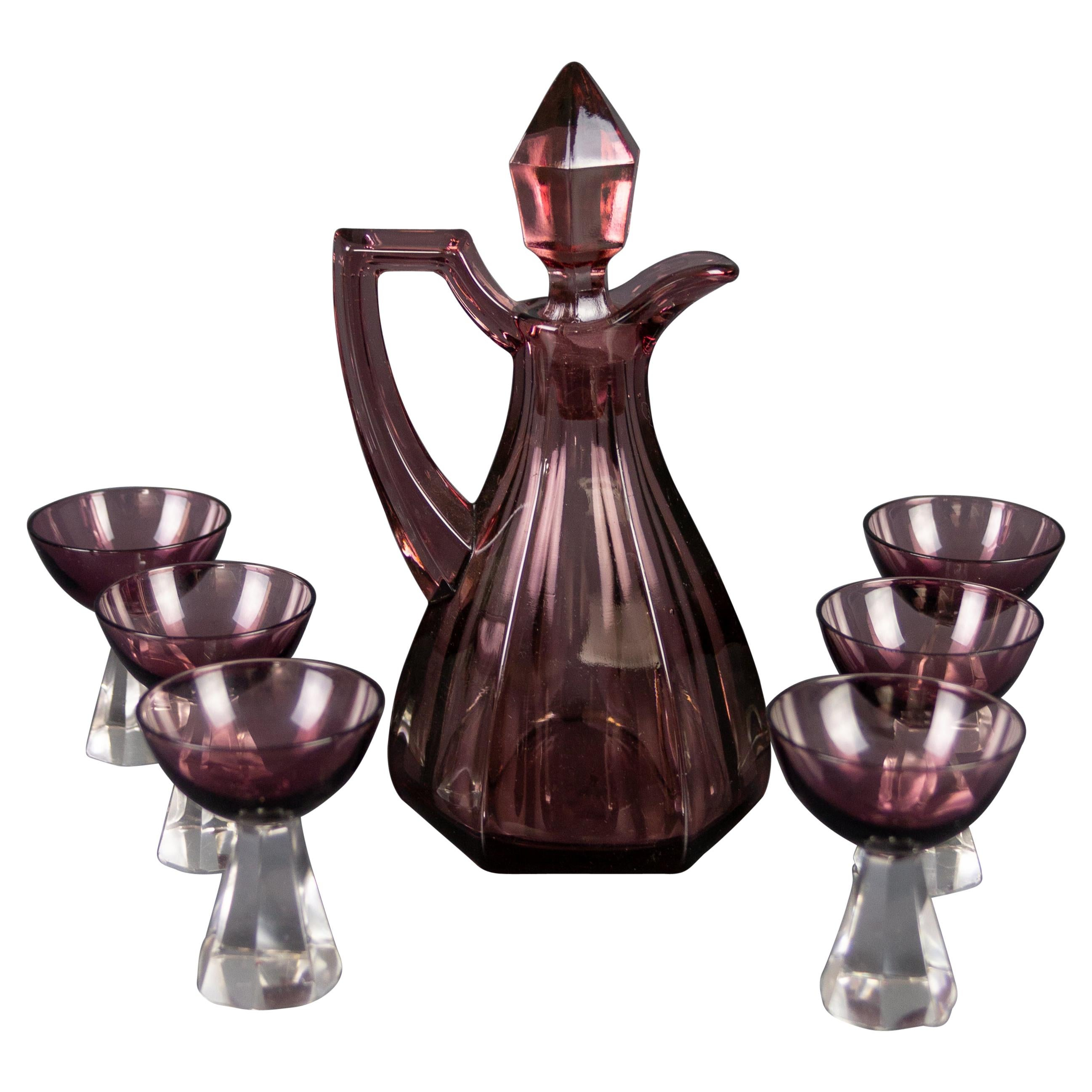 Art Deco Style Mulberry Color Glass Decanter and Six Glasses Set