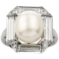 Art Deco Style Natural Pearl and Diamond Cluster Ring