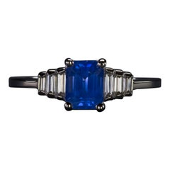 Art Deco Style Natural Sapphire Diamond Solitaire Ring