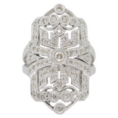 Art Deco Style Navette Shield Diamond Ring