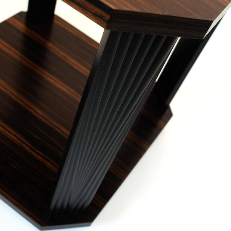 American Modernist series Square side table in ebony macassar  For Sale