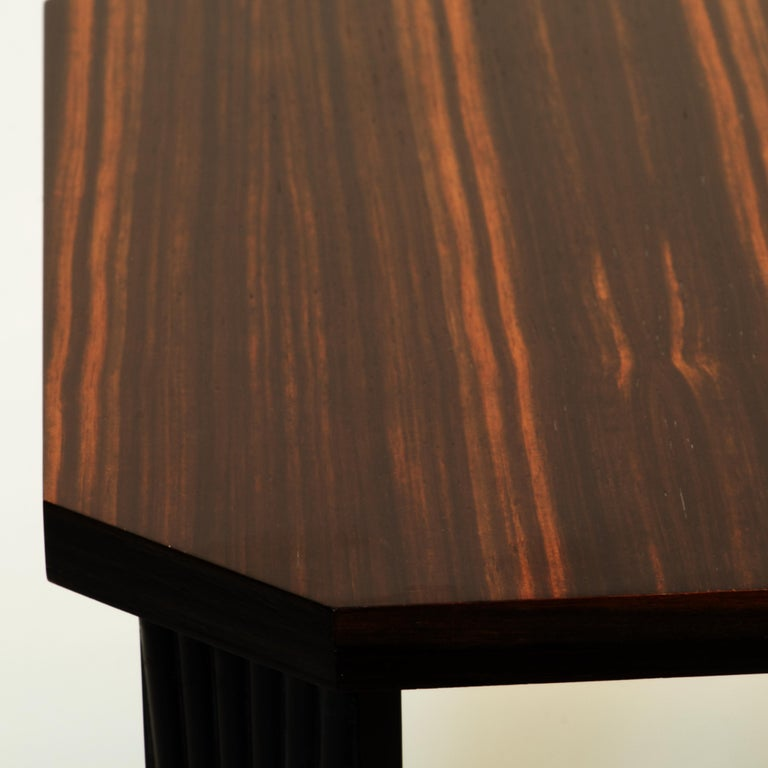 Veneer Modernist series Square side table in ebony macassar  For Sale