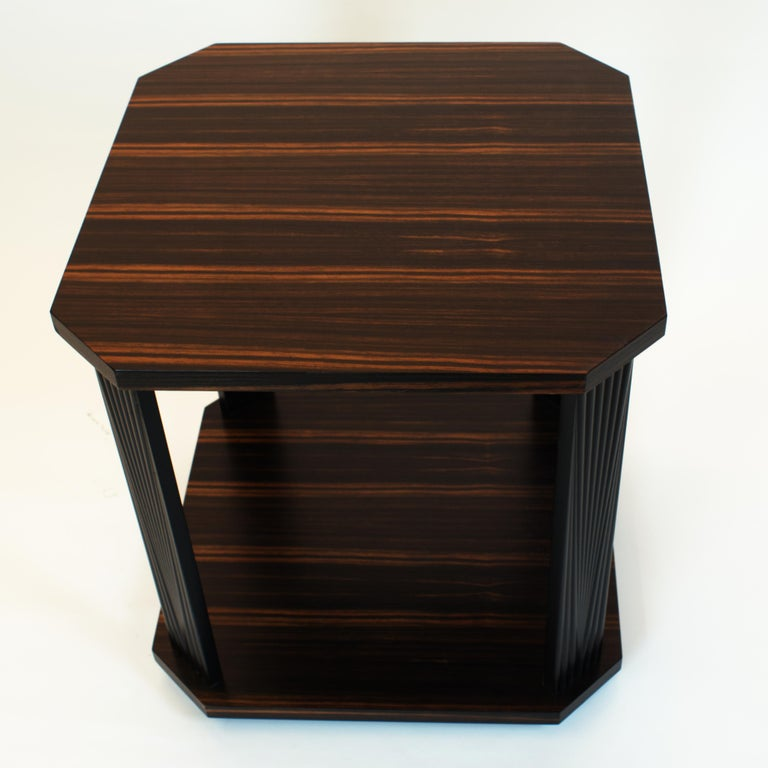 Contemporary Modernist series Square side table in ebony macassar  For Sale