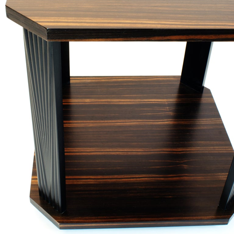 Ebony Modernist series Square side table in ebony macassar  For Sale