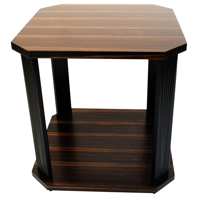 Modernist series Square side table in ebony macassar  For Sale