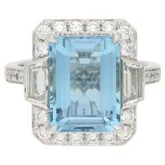 Art Deco Style Octagonal Aquamarine Cluster Halo Ring Set in Platinum