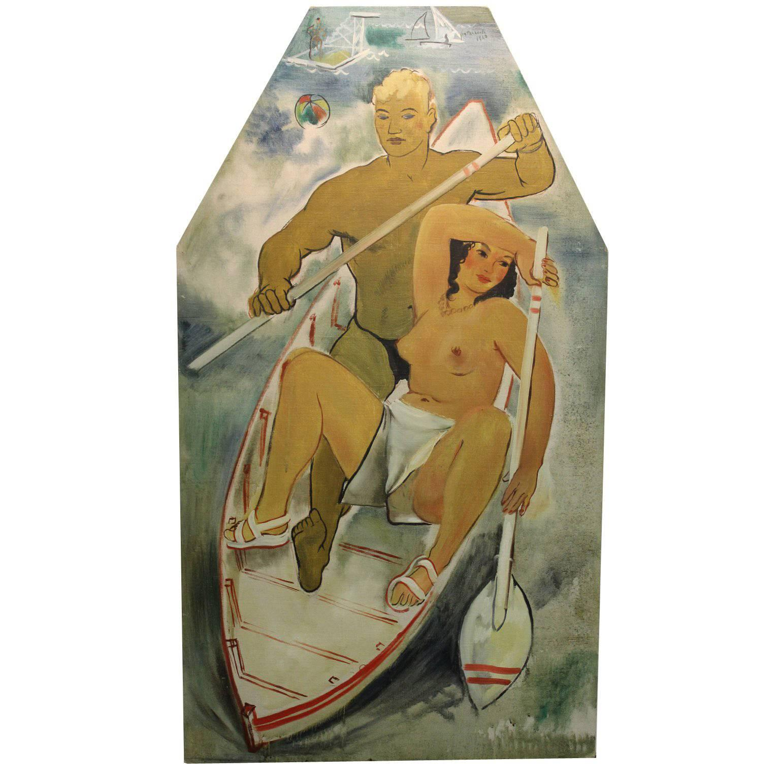 Fontanarosa French Art Deco Oil Painting of a Couple in a Boat