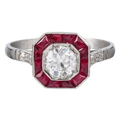 Art Deco Style Old European Cut Diamond and Ruby Ring