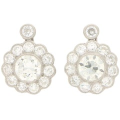 Art Deco Style Old European Cut Diamond Cluster Earrings Set in Platinum