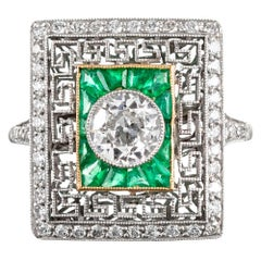Art Deco Style Old European Cut Diamond Plaque Ring with Emeralds