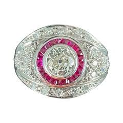 Art Deco Style Old European Diamond Ruby White Gold Bombe Target Engagement Ring