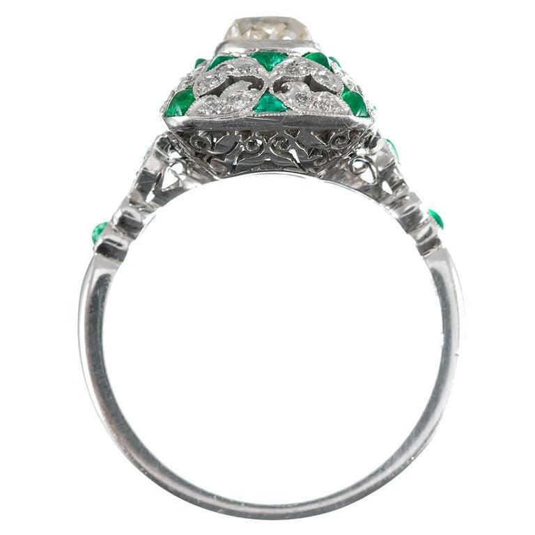 Women's Art Deco Style Old Mine Cut Diamond Ring For Sale