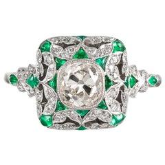 Art Deco Style Old Mine Cut Diamond Ring