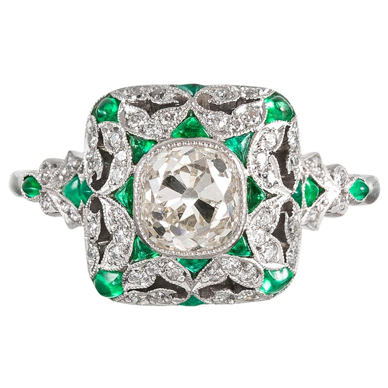 Art Deco Style Old Mine Cut Diamond Ring For Sale