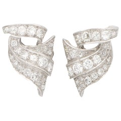 Art Deco Style Old Mine Cut Diamond Scroll Earrings Set in Platinum