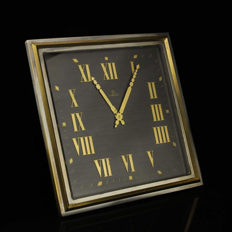 Art Deco Style Omega Silver Plate Table/Desk Clock with 8 Day Movement For Sale 8