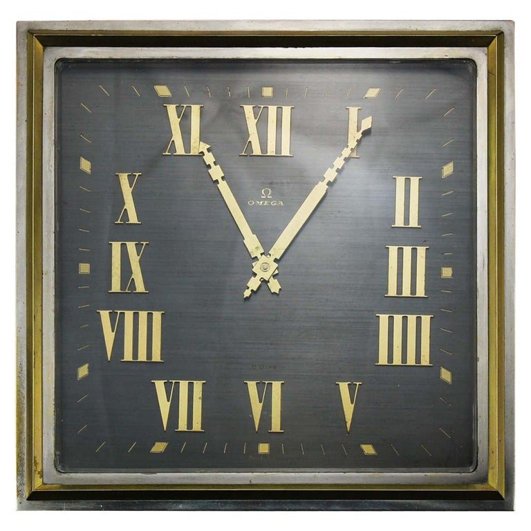 Art Deco Style Omega Silver Plate Table/Desk Clock with 8 Day Movement For Sale