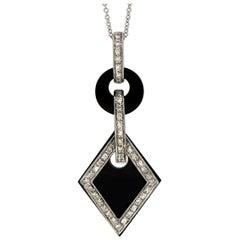 Art Deco Style Onyx and Diamond Pendant