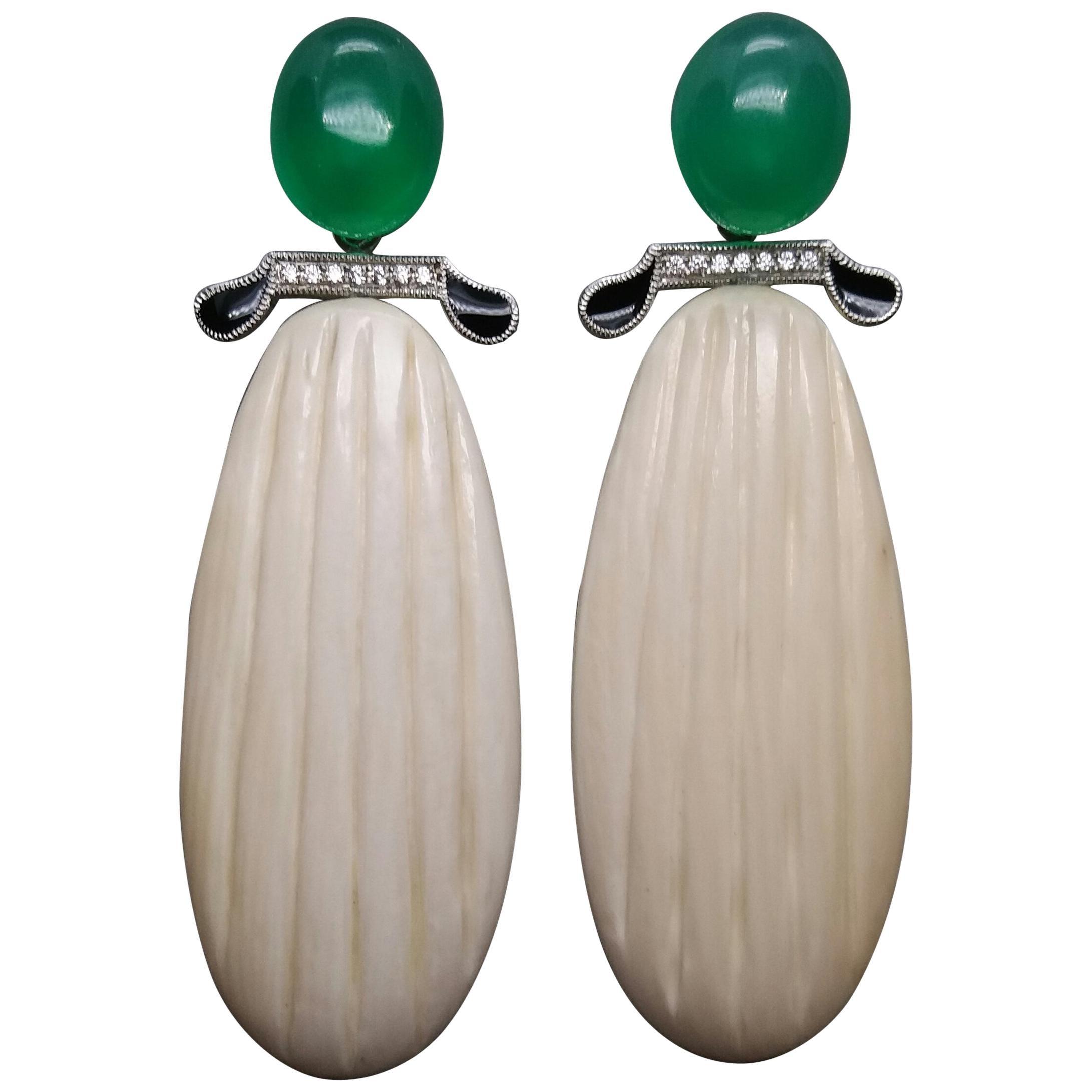 Art Deco Style Onyx Cabs Gold Diamonds Black Enamel Mammoth Bone Drops Earrings