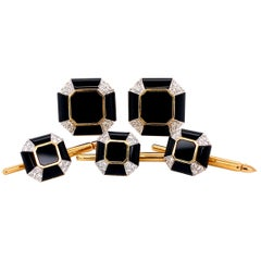 Art Deco Style Onyx Diamond Gold Cufflink and Matching Shirt Stud Dress Set