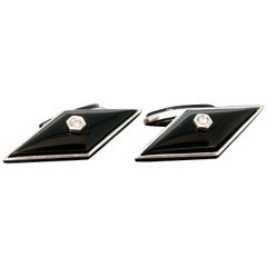 Art Deco Style Onyx Diamond White Gold Cufflinks