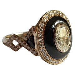 Art Deco Style Onyx Gold Ring with Diamonds