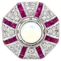 Art Deco Style Opal Diamond Ruby Cocktail Ring Estate Fine Jewelry