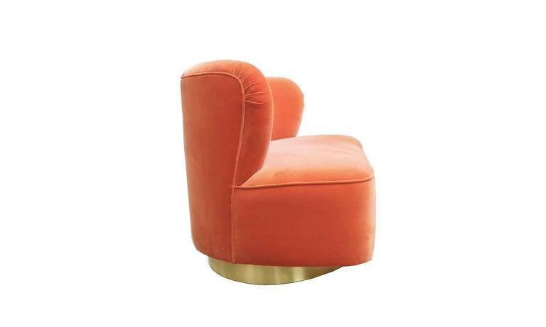 European Art Deco Style Orange Velvet and Brass Base Loveseat Sofa Monti For Sale