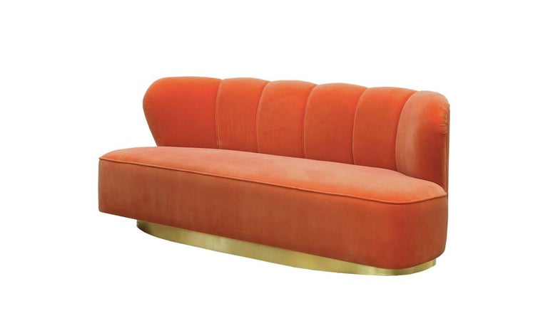 Art Deco Style Orange Velvet and Brass Base Loveseat Sofa Monti In New Condition For Sale In Madrid, ES