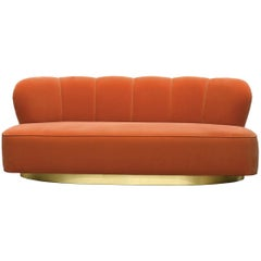 Art Deco Style Orange Velvet and Brass Base Loveseat Sofa Monti
