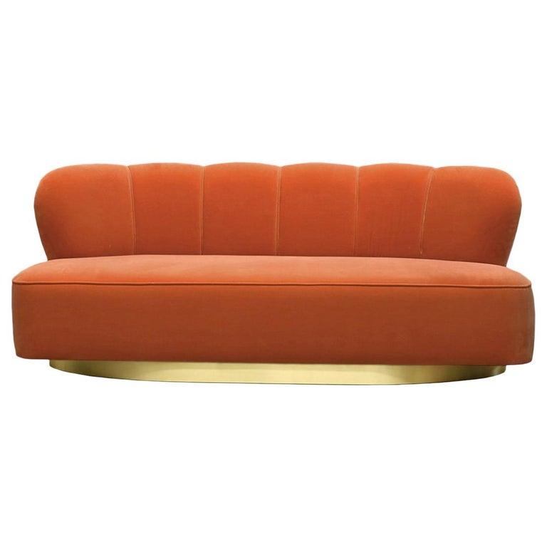 Art Deco Style Orange Velvet and Brass Base Loveseat Sofa Monti For Sale