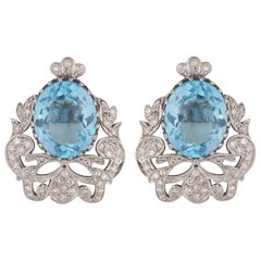 Art Deco Style Ornate Stud Earrings with Blue Topaz and Diamonds