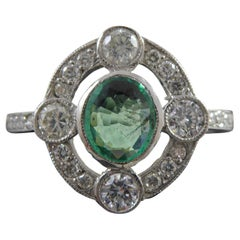 Art Deco Style Oval Emerald and Diamond Ring in Platinum