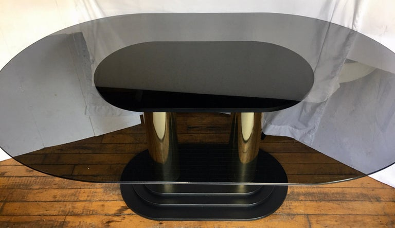 Late 20th Century Art Deco Style Oval Smoked Glass and Brass Pedestal Column Dining Table, 1980s For Sale