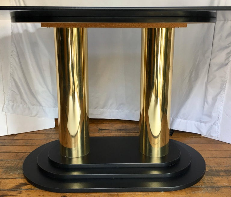 Metal Art Deco Style Oval Smoked Glass and Brass Pedestal Column Dining Table, 1980s For Sale
