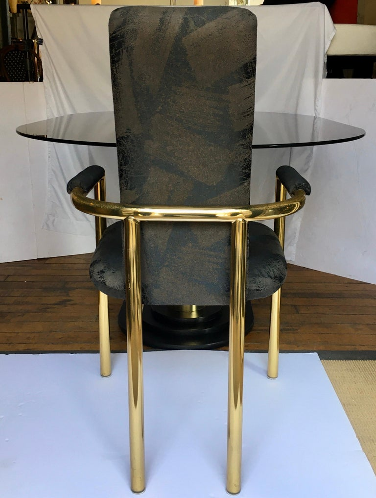 Art Deco Style Oval Smoked Glass and Brass Pedestal Column Dining Table, 1980s For Sale 2