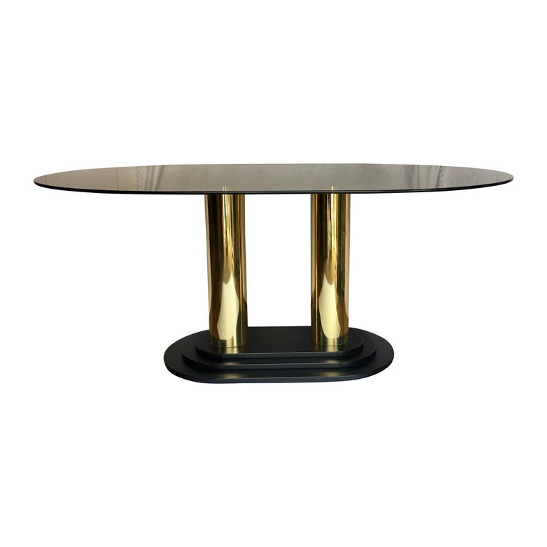 Art Deco Style Oval Smoked Glass and Brass Pedestal Column Dining Table, 1980s For Sale
