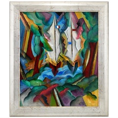 Art Deco Style Painting Landscape with Sailing Boats Patrick Leroy France