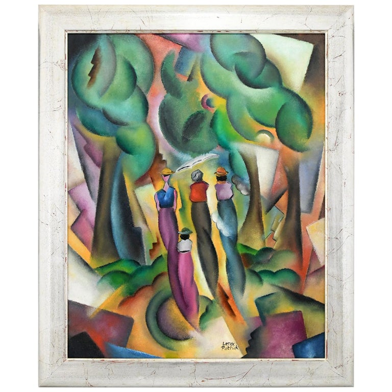 Art Deco Style Painting of a Ladies in a Forest Patrick Leroy