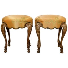Art Deco Style Pair Carved Wood Upholstered Stools Cabriole Legs Minton-Spidell