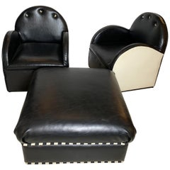 Art Deco Style Pair of Club Chairs and Ottoman for the Set