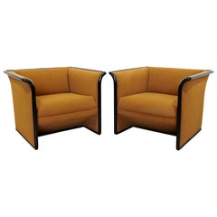 Art Deco Style Pair of Curved Mohair Club Armchairs Ward Bennett for Brickell