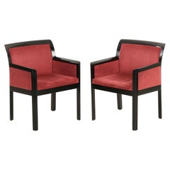 Art Deco Style Pair of Maroon Micro-Suede and Black Ebonized Armchairs