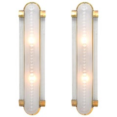 Art Deco Style Pair of Murano Glass and Brass Sconces