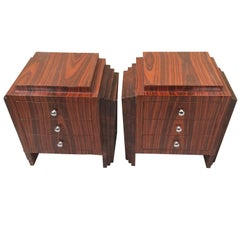 Art Deco Style Pair of Skyscraper Style Bedside or Sofa Tables